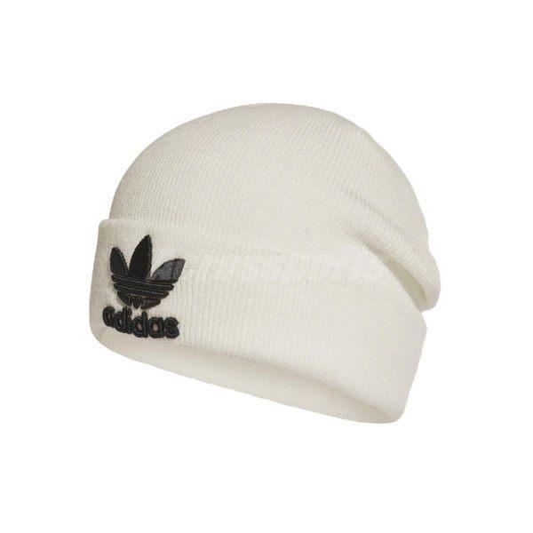 adidas 毛帽 Originals Trefoil Beanie 男女款 毛線帽 針織 保暖 黑白 黑 白 【PUMP306】 DH4295