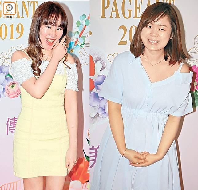 「翻版池美麗」Joshna(左) 狂Chok甫,而「瘦版池美麗」 扶寶琪則素顏上陣。
