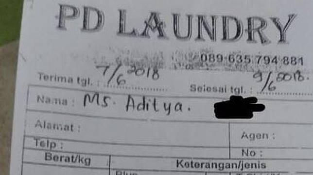 Tagihan laundry kiloan. [Twitter]