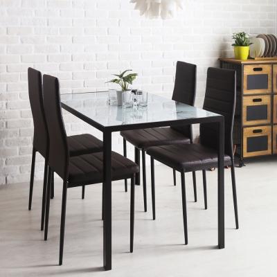 營造小都會居家空間 鋼化玻璃結合石面質感 一桌四椅組合