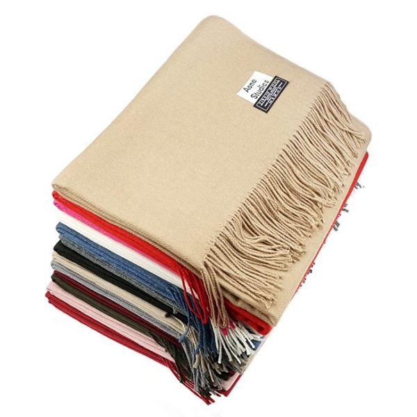 圍巾披肩純色長款男女同款羊絨羊毛秋冬季新款中國紅保暖百搭