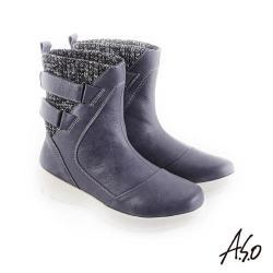 A.S.O 異材質拼接 布料拼接牛皮休閒靴-藍
