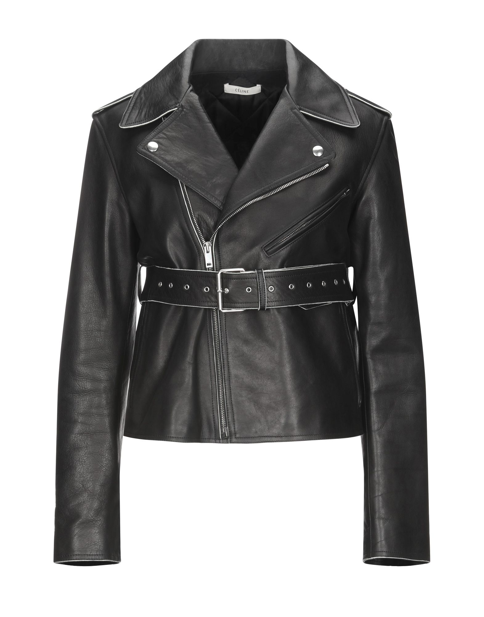 leather, belt, solid color, classic neckline, single-breasted, zip, multipockets, long sleeves, line