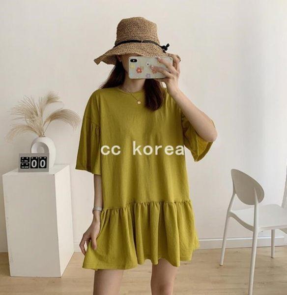 寬鬆遮肉版型荷葉裙洋裝 CC KOREA ~ Q23662