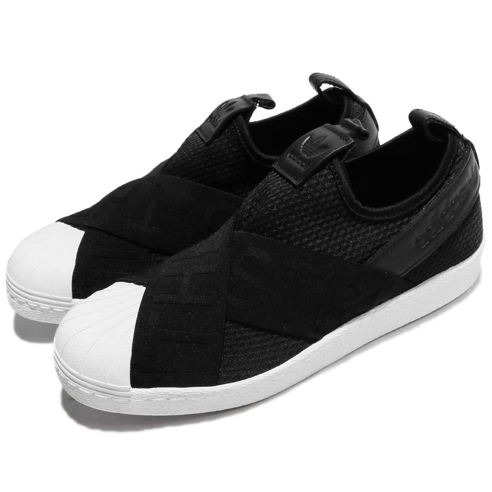ADIDAS 休閒鞋 Superstar SlipOn W 女鞋 愛迪達 繃帶鞋 復古 交叉綁帶 女 黑 白 [CQ2382]