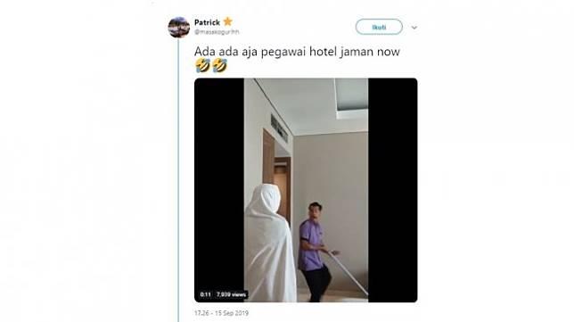 Aksi prank pegawai hotel. [Twitter]