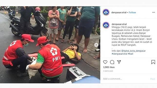Aksi santuy korban kecelakaan. [Instagram]