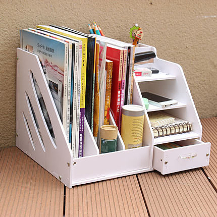辦公桌收納盒 桌面收納盒書架大號文件架文具資料架書桌整理盒架