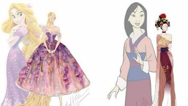 設計師為 13 位迪士尼公主繪出現代風「時尚禮服」 花木蘭的中國風長裙特色太鮮明!