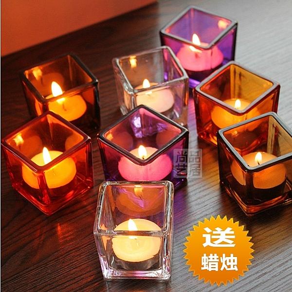 簡約現代透明5CM玻璃酒吧西餐燭台聖誕浪漫燭光晚餐方小燭杯擺件