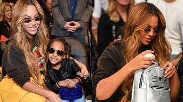 名牌包拿不完!碧昂絲 6 歲女兒就拿 5.2 萬 LV 包 坐第一排看 NBA 全明星賽!