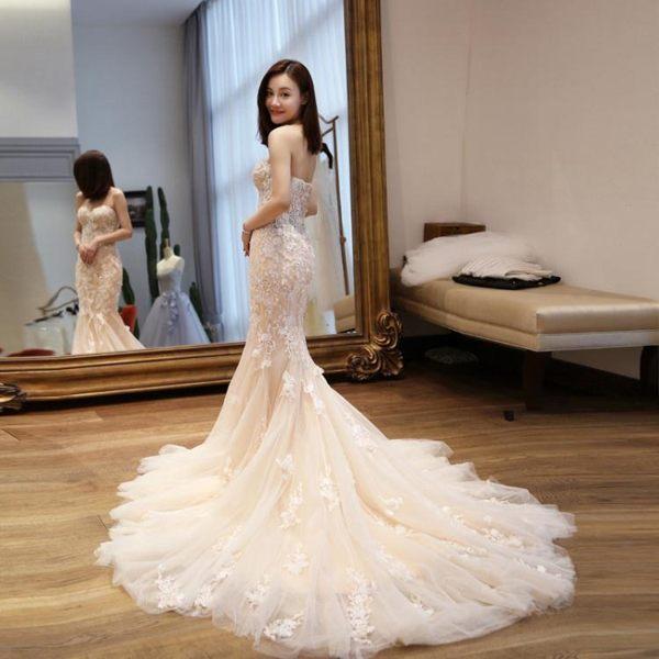 婚紗禮服 魚尾小拖尾修身旅拍性感收腰抹胸簡約森系輕-巴黎時尚