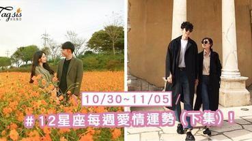 【10/30-11/05】十二星座每週愛情運勢 (下集) ~巨蟹座本週桃花逐步攀升喔!