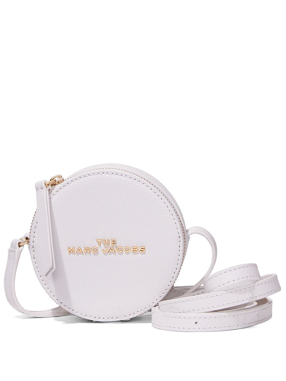 White leather medium The Hot Spot wallet from Marc Jacobs featuring gold-tone logo lettering, pebble