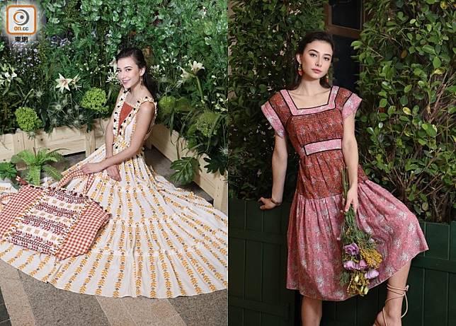 從世界各地搜羅多個新興品牌的Rue Madame,今季引入一系列充滿法式田園風格的新作。(左)DODO BAR OR米黃色刺繡連身裙、(右)Manoush粉紅色拼啡色碎花圖案連身裙(蔡浩文攝)