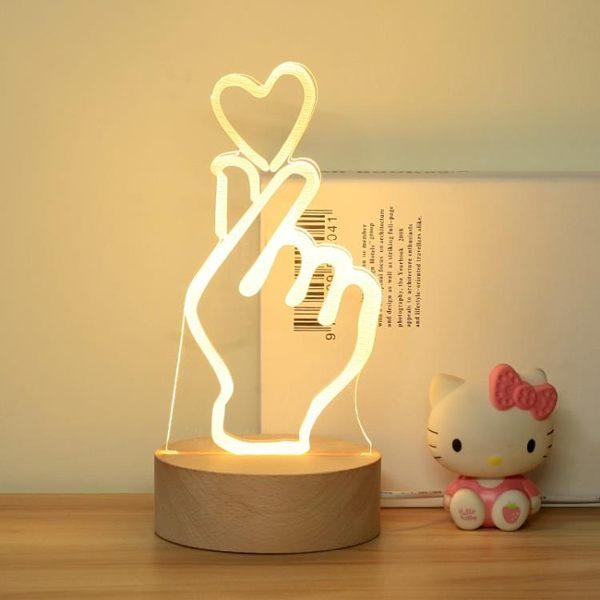 3D比心手勢臺燈觸摸可愛少女心爆棚小夜燈送女友情人七夕創意玩意