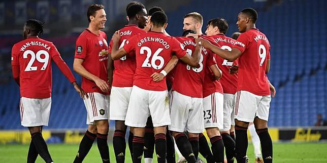 Skuad Manchester United merayakan gol ke gawang Brighton pada pekan ke-32 Premier League 2019/20. (c) AP Photo