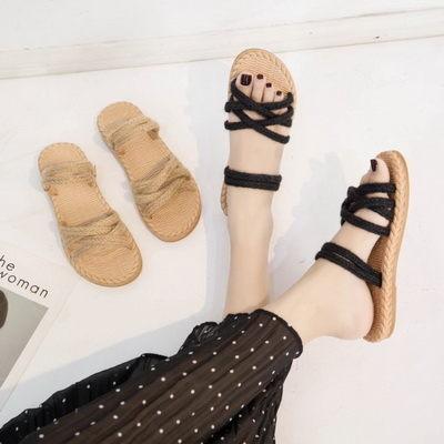 涼鞋日系森女風編織繩兩穿型平底涼鞋【02S11250】