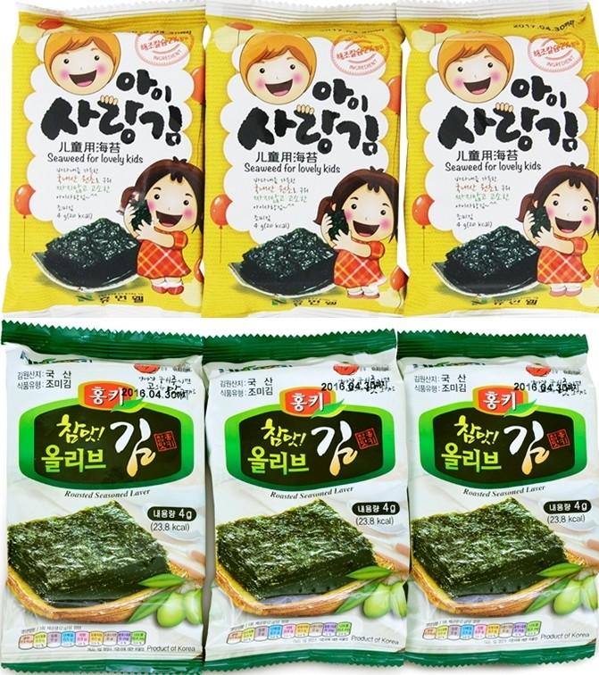 【韓國HUMANWELL】兒童加鈣烤海苔片/橄欖油烤海苔片一封9小包