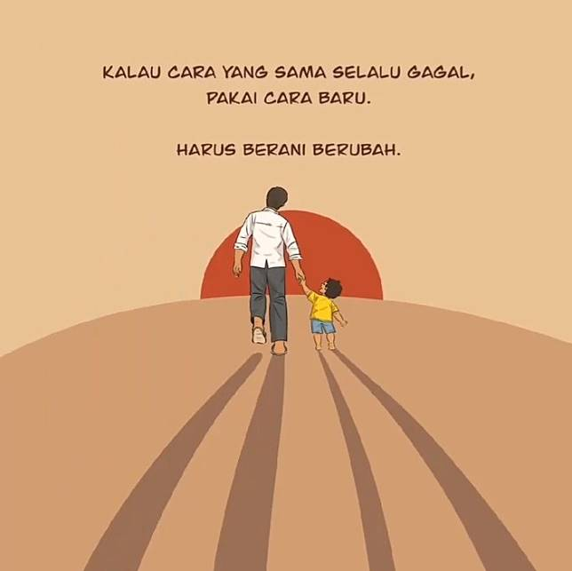 A comic strip posted to President Jokowi's social media accounts encourages change.