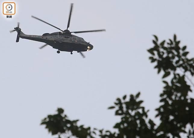 政府飛行服務隊直升機到場協助。(李志湧攝)