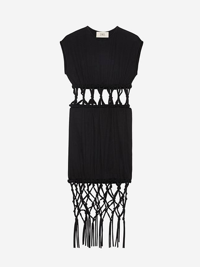 PORTS 1961黑色針織流蘇連身裙(互聯網)