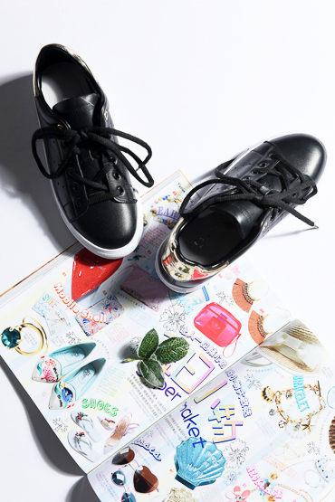 [超豐國際] W 鏡面皮拼接 牛皮 系帶低幫皮鞋 女 703