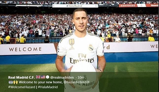 Eden Hazard saat diperkenalkan sebagai pemain baru Real Madrid, Kamis (13/6/2019).