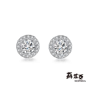 鑽石重量:主鑽約0.26克拉,32顆配鑽約0.09-0.12克拉鑽石顏色/淨度:主鑽F/VVS1,配鑽 F/VS2貴金屬材質:18K金耳環樣式:穿耳針式/貼耳式