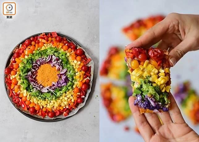 繽紛彩虹蔬菜批賣相別致,大家可根據個人口味選擇蔬果,換成生果版同樣吸引。 (互聯網)