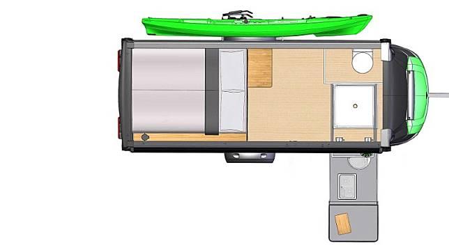 平面圖能清楚看到這款拖曳式露營車設計非常巧妙。(互聯網)