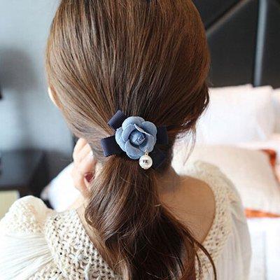 【薔薇花牛仔藍髮圈】-紮馬尾 鍍金髮圈 髮繩 髮束 髮帶 綁頭髮 橡皮筋 鬆緊帶-現貨1《小紅帽愛編織》