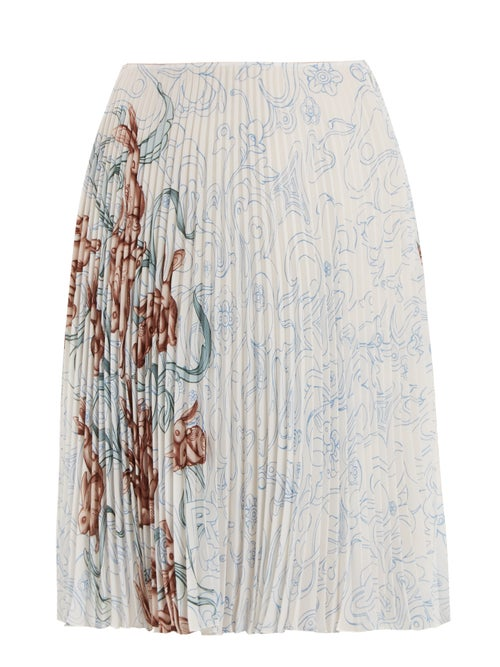 Prada - Prada's closely pleated white skirt is decorated with an Art Nouveau-esque rabbit print crea
