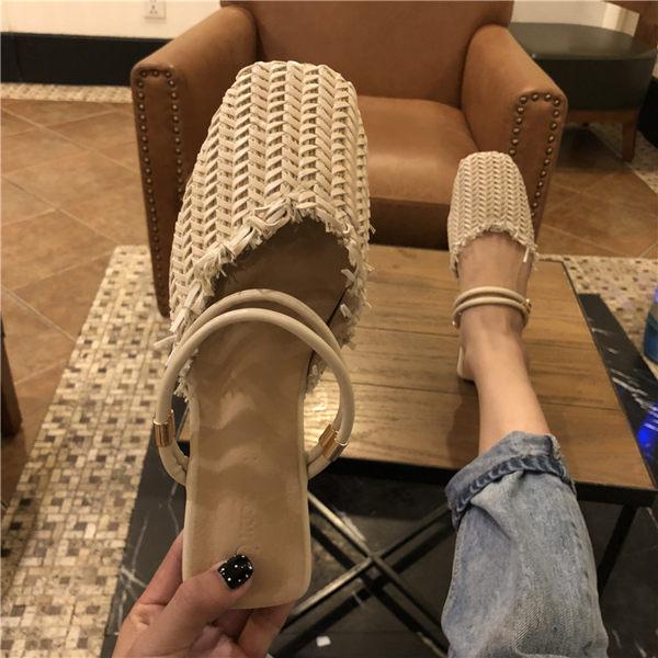 休閒半拖 夏兩穿一字帶復古編織淺口包頭女鞋平底鞋夏季 - 歐美韓