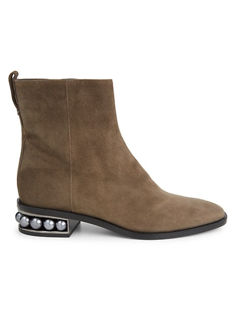 Rustic suede ankle boots set on luminous faux pearl-trimmed heel.; Leather upper; Almond toe; Side z
