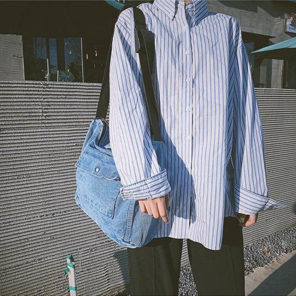 牛仔包帆布包 韓版古著感女學生側背包日系文藝范郵差包牛仔布斜背包 coco衣巷