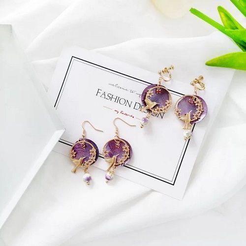 【NiNi Me】韓系耳環 氣質甜美水鑽貝殼花朵森林系垂墬耳環 夾式耳環 E0208