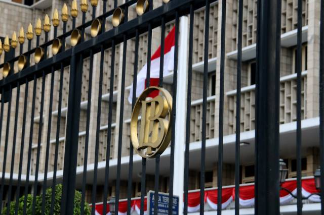 Logo of Bank Indonesia is seen in front of the central bank's building in Jakarta.
