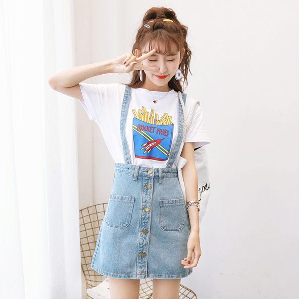 2019夏新款個性學生韓版牛仔背帶裙女吊帶裙子短裙半身裙a字裙女