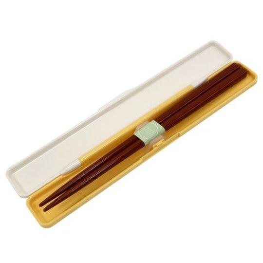 〔小禮堂〕迪士尼 小熊維尼 日製塑膠筷附盒《黃棕.蜂蜜罐》環保筷.環保餐具