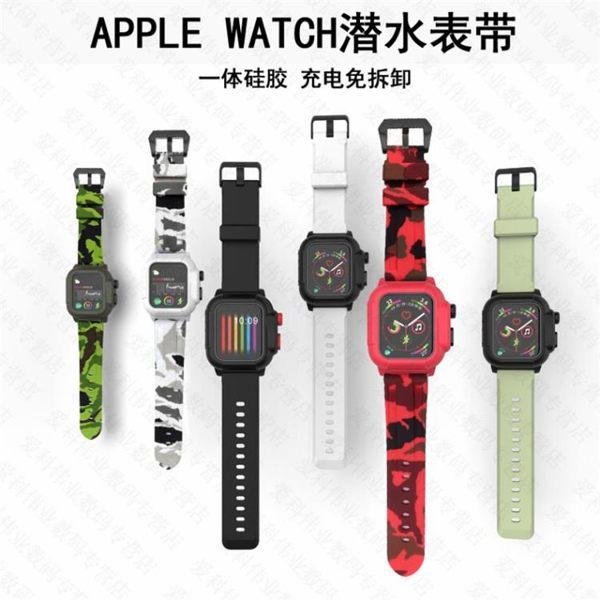 適用蘋果手錶潛水錶帶apple watch 2/3/4 42mm防水保護套防水殼腕帶iwatch