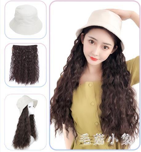 假髮帽子假髮女長髮一體女夏天時尚羊毛卷潮流長卷髮帶全頭套 JA7195『毛菇小象』