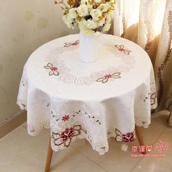 桌布 大圓桌桌布布藝圓形餐桌布墊家用小圓桌布蕾絲防燙小轉盤台布 9款