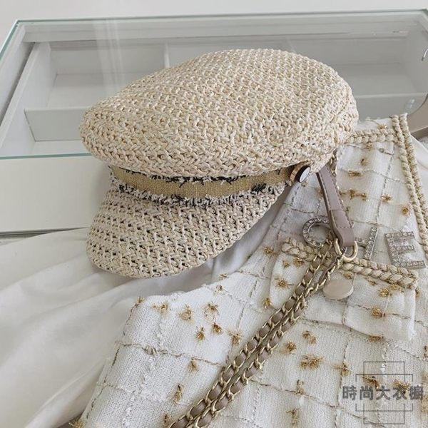 U.VN 小香風復古帽子2019夏季度假編織遮陽帽網紅款時尚貝雷帽潮