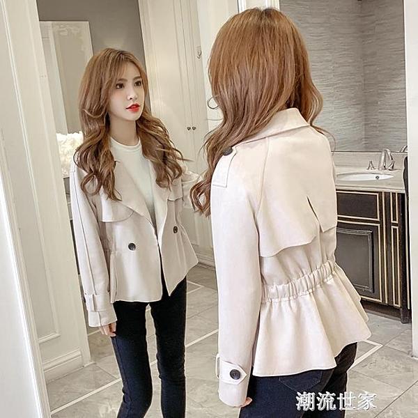 2020秋款風衣翻領韓版收腰顯瘦新款外套女小西裝短款機車皮絨夾克