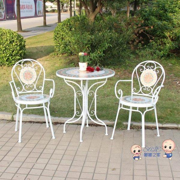 花園桌椅 歐式鐵藝陽台庭院戶外露台室外酒吧咖啡廳休閒花園桌椅組合三件套T 1色