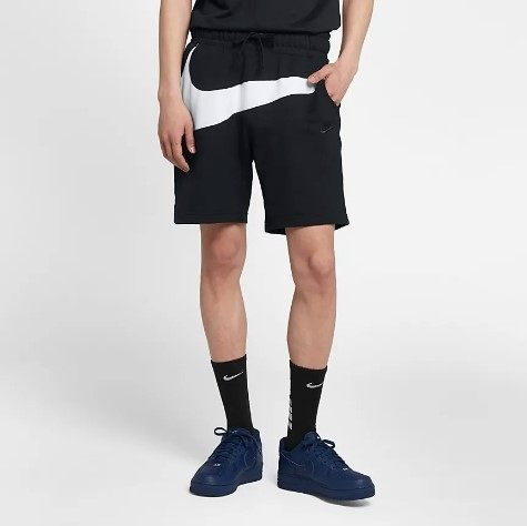 NIKE BIG SWOOSH LOGO 黑白 大勾勾 短褲 棉褲 (布魯克林) 2019/3月 AR3162-010