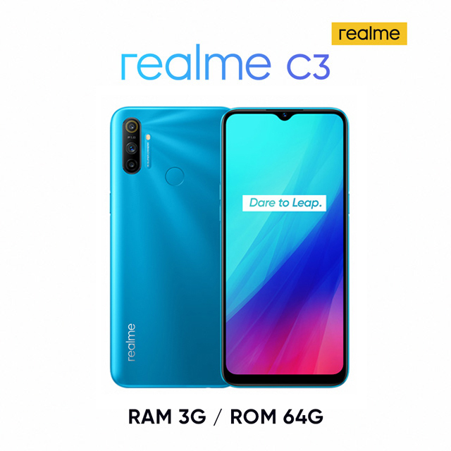 realme C3 (3G/64G)6.5吋大電量遊戲怪獸 限時贈送原廠通用保護殼!*贈送之realme 5 保護殼同時兼容 realme C3因C3手機為三顆拍照鏡頭,裝上C3手機後鏡頭孔位將會留空