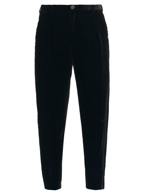 Saint Laurent - The plush velvet corduroy of these black Saint Laurent trousers evokes a brooding, r
