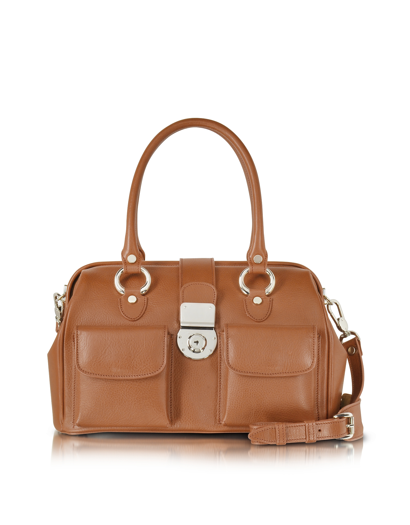 For a polished edge to your look, this structured doctor style leather handbag is roomy enough to ho